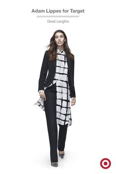 Fall is all about layering, even dresses. Just layer this Adam Lippes for Target dress over a sleek pair of pants—it's an on-trend look that still plays up the modern, windowpane plaid print. Throw on a blazer and it's a perfect night-out outfit. Want more plaid? The collection is available now!