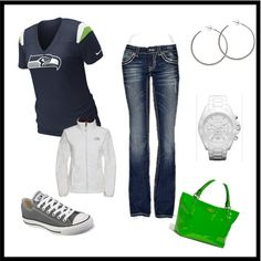 Go Seahawks! I already own the shirt, jacket, shoes, and my style of jeans. :-) Not sure what I'd do with the bright green purse. Seahawks Fans, Seahawks Football, Seattle Seahawks, Seahawks Gear, Style Wish, Style Me, Sunday Outfits, Winter Outfits, Football Outfits