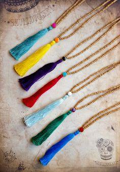 Mini micro wood Malas with coloured guru beads and tassels.