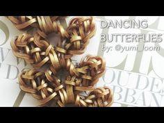This is a hooked design. No loom needed. *Zuzu* DANCING BUTTERFLIES bracelet tutorial Rainbow Loom Bands, Rainbow Loom Charms, Rainbow Loom Bracelets, Rainbow Loom Tutorials, Rainbow Loom Patterns, Wonder Loom, Monster Tail, Lovely Tutorials, Butterfly Bracelet