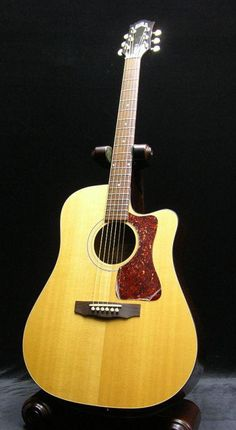 Guild's DCE-1 was my main acoustic guitar for years. quality USA-made workmanship. was a real ally until i betrayed it and sold it in order to help pay for my Gibson J-50. Learn Guitar Beginner, Learn Guitar Chords, Guitar Songs, Guitar Stand, Guitar Shop, Cool Guitar, Guild Guitars, Old Song, Song One
