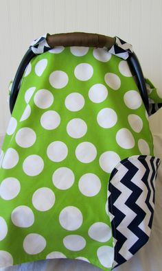 Baby Car Seat Cover Canopy for boy or girl in lime green and navy blue. <3 think we could sew