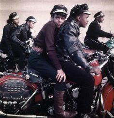 Harlem Motorcycle Club ca. Harlem, NY– Black Harlem Motorcycle Club –Image by © Norman Parkinson Limited/Corbis Vintage Motorcycles, Custom Motorcycles, Custom Bikes, Motorcycle Clubs, Motorcycle Style, Motorcycle Quotes, Motorcycle Touring, Touring Motorcycles, Toddler Girls