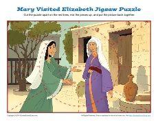 Sunday School Jigsaw Puzzle Activity - Mary Visited Elizabeth