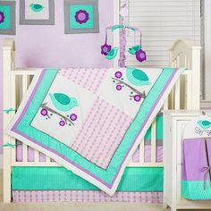 Pam Grace Creations Love Birds 10 Piece Crib Bedding Set- Lavendar