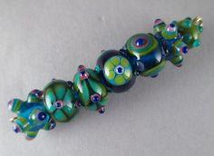| Handmade Art Glass Lampwork Bead Set of 7 - 'Acid Peacock Eclectic Set ...