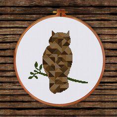 Geometric Owl cross stitch pattern decor cross by ThuHaDesign