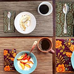 Breakfast with my husband! One of us likes color and one likes neutrals. I will let you guess which is which   Btw if you love our napkins check out @lyndamaestitches where I buy all our #handmade #clothnapkins from her #etsyshop she has incredible selection!! #coconutyogurt #chia #coconutflakes #blackcoffee #friedeggs #eclectic #java #cupofjoe #tablesetting by liesl_diesel