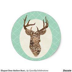 Elegant Deer Antlers Rustic Country Wedding Classic Round Sticker #deer #antlers #rustic #country #wedding #turquoise #woodland #woodsy #natural #nature