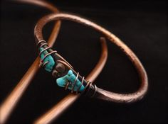 Bangle bracelet copper and turquoise heavy by HummingBirdEggs