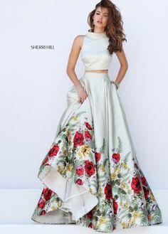 2016 Sherri Hill 50270 Satin Floral Printed Crop Top Dress