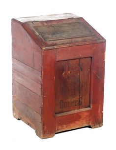 """PAINTED COFFEE BIN. American, 3rd quarter-19th century. Pine with embossed scene on lid, panel front have """"Lion Coffee"""" with lion's head, 32.5""""h. 21.25""""w. 21.25""""d. Estimate $ 150-225. garths.com"""