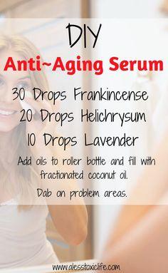 Ingredients for anti-aging serum using essential oils. #essentialoils #diyskincare #LavenderEssentialOil