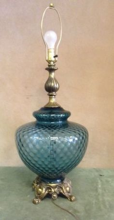 Delightful Vintage Brass Mid Century Blue Glass Table Lamp
