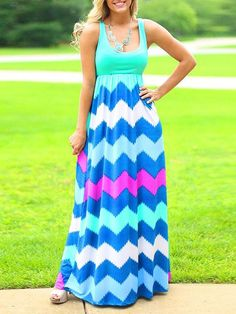 Mint Blue Contrast Multicolor Chevron U Neck Sleeveless Maxi Dress