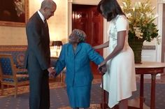 Virginia McLaurin is 106 years old. On Sunday, she visited the White House and met President Barack Obama and First Lady Michelle Obama. | This 106-Year-Old Woman Dancing For Joy As She Meets Barack Obama Will Warm Your Heart