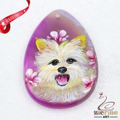 Hand Painted Dog Agate Slice Gemstone Necklace Pendant Jewlery D1707 1686 #ZL #Pendant