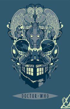 Cool Doctor Who inspired skull art