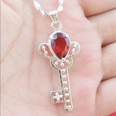 Beautiful Sterling Silver Ruby Key Necklace Brand New .925 Sterling Silver Stamped Jewelry Necklaces