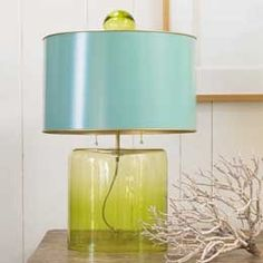 turquoise and green lamp