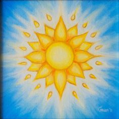 Sun Mandala Oil Painting Small Gold Oil Painting Blue Gold Yellow Ethereal Sky Mandala Vision
