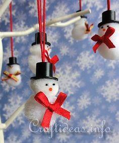 Mini Pom-Pom Snowmen Ornaments