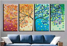 4152 handpainted 4 piece modern abstract lucky tree picture oil painting on canvas wall art for hom unique gift free shipping $56.00