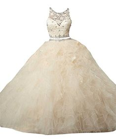 723ed70394 Dearta Women s Ball Gown Scoop Tulle Quinceanera Dresses Champagne US