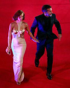 Diana Bolocco con un Claudio Mansilla en la Gala del Festival de Viña del Mar 2014 #GalaViña2014
