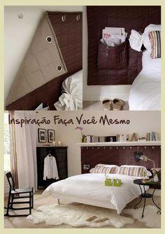 Prateleira em cima da cama, e área da cabeceira.