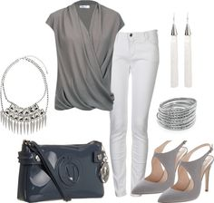 """""""Grey"""" by msmeena on Polyvore. everything but the purse."""