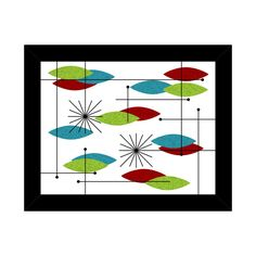Orbs red turquoise green Framed Atomic Art Print by by Gamma2Hey. $25.00, via Etsy.