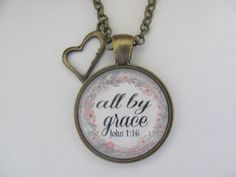 Bible Verse Pendant Necklace All by grace John by RedeemedJewelry, $14.00