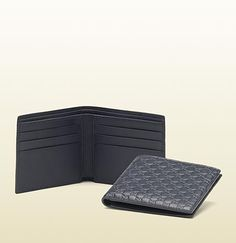 microguccissima leather bi-fold wallet
