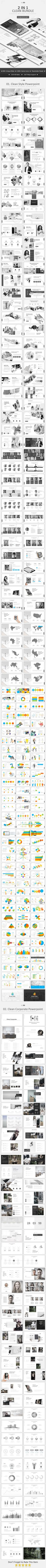 2 in 1 Clean Bundle Powerpoint - Business PowerPoint Templates Presentation Styles, Presentation Templates, Business Powerpoint Templates, My Design, Fonts, Design Inspiration, Layout, Graphics, Content