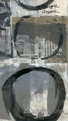 Elena Ray: Black enso circle abstract painting collage art.