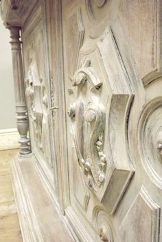 Beautiful Antique French Painted Buffet Base - light lime wash finish on bleached oak