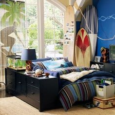surfboard decor for bathroom | Surfer Dude - Boys' bedroom ideas