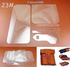 6pcs Leather Craft Acrylic Perspex Waist Bag Pattern Stencil Template Tool Set