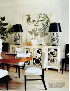 round table, mirrored credenza, blue and white