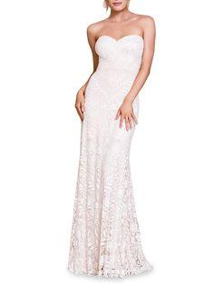 Strapless Dress Formal, Formal Dresses, Wedding Dresses, Tadashi Shoji, Saks Fifth Avenue, Tulle, Bridal, Pretty, How To Wear
