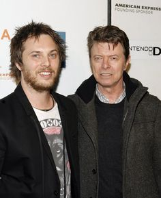 David Bowie with his son, filmmaker Duncan Jones, at the premiere of Moon during the 2009 Tribeca Film Festival