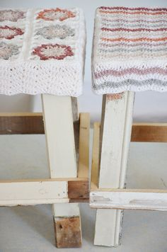 #crochet on wooden stools from Wood&Wool Stool