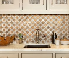 Metallic star and cross pattern tiles by Pratt and Larson in a kitchen by Pepe Studio, Inc., Backsplash, Andria Moore