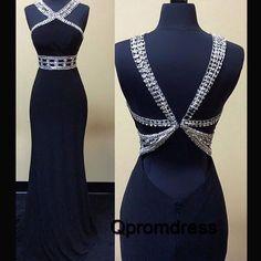 Beautiful navy blue sequins open back long slim evening dress, formal prom dress