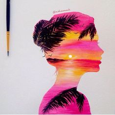 15 best painting ideas images on water colors, drawing - double exposure painting Painting Inspiration, Art Inspo, Pinturas Disney, Silhouette Art, Double Exposure, Disney Art, Cute Drawings, Painting & Drawing, Amazing Art