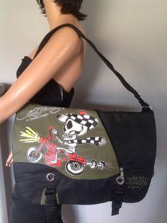 Ed Hardy Christian Audigier Messenger Crossbody Bag Skelton Bike Designer Fashio Christian Audigier, Satchel, Crossbody Bag, Jansport, Designer, Messenger Bag, California, Bike, Shoulder Bag