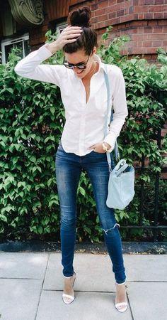 #winter #fashion /  White Shirt + Skinny Jeans