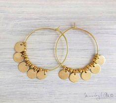 Gold Disc Earrings - Gold Fringe Earrings Hoop Earrings Boho Chic Earrings - List of the most beautiful jewelry Bar Stud Earrings, Fringe Earrings, Circle Earrings, Silver Earrings, Diamond Earrings, Silver Ring, Diy Earrings Hoops, Tassel Necklace, Minimalist Earrings