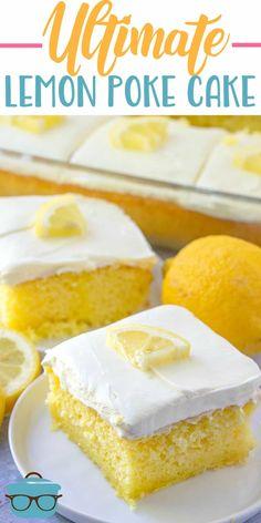 The Ultimate Lemon Poke Cake is made with lemon cake mix lemon jell-o and topped with a delicious whipped lemon cream frosting lemonpokecake dessert Lemon Desserts, Lemon Recipes, Easy Desserts, Drop Cake, Dessert Simple, Poke Cake Recipes, Dessert Recipes, Lemon Jello Poke Cake Recipe, Lemon Frosting